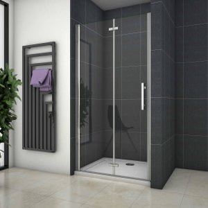 inloop douschewand, 90x185cm, niche douchedeur, 6mm nano veiligheidsglas, vouwdeur douchecherm, Nisdeur Vouwdeur