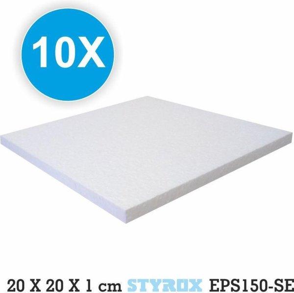 10 x Piepschuim platen- 20 x 20 x 1 cm - hobbybasisvoorwerp - Isomo - tempex -isolatie - plaat