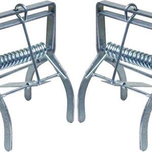 2x Mollenvallen/mollenklemmen verzinkt staal 13,5 cm - Tuin benodigdheden - Mollen vangen - Mollenvallen/mollenklemmen
