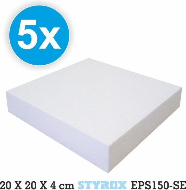 5 x Piepschuim platen 20 x 20 x 4 cm - eps150 - hobbybasisvoorwerp - Isomo - isolatie - plaat