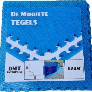 De Mooiste Tegels - Zwembad Tegels - EVA Foam - DMT enterprise - 0.62m x 0.62m x 1cm - Pak van 4 Stuks - 1.24M² - Blauw - Zwembad Grondzeil - Vloer Tegel - Extra Dik!
