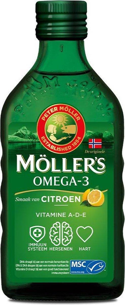 Möller's Omega-3 Citroen - 250 ml - Visolie - Voedingssupplement