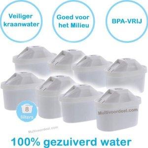 PREMIUM voor BRITA MAXTRA Waterfilter 8 Stuks Water filter patronen voor 8 Maanden Gezuiverd Water -Waterontharding -Waterontkalker -Waterzuivering Brita filterpatronen BPA-Vrij