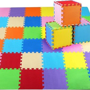 LifeGoods Multicolor Speelmat XL - 36-delig Puzzel van Schuim Vloer Tegels in 9 Kleuren - 180x180 cm - Zacht en Dik EVA Foam - Antislip en Waterafstotend - Educatief Speel Kleed voor Baby/Peuters/Kinderen vanaf 0 jaar - Jongens en Meisjes