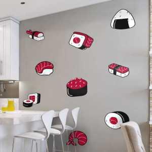 Muurzelfklevende sticker sushi eten keuken