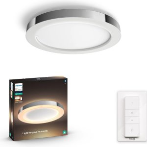 Philips Hue Adore Plafonniere Badkamer - White Ambiance - Chrome - 27W - Bluetooth - incl. Dimmer Switch