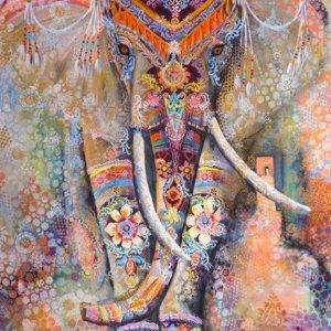 Premium Paintings - Diamond Painting Volwassenen - Volledige dekking - Ronde Steentjes - Inclusief Tools - Gekleurde olifant - 30x40 cm