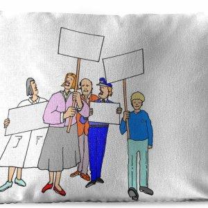 Sierkussen Animatie voor buiten - Animatie van een klein protest - 60x40 cm - rechthoekig weerbestendig tuinkussen / tuinmeubelkussen van polyester