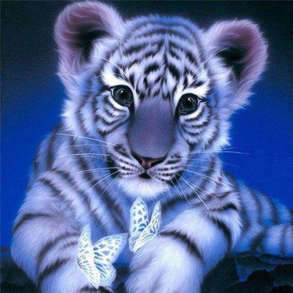 Premium Paintings - Diamond Painting Volwassenen - Diamond Painting Kinderen - Tijger - 20x20cm