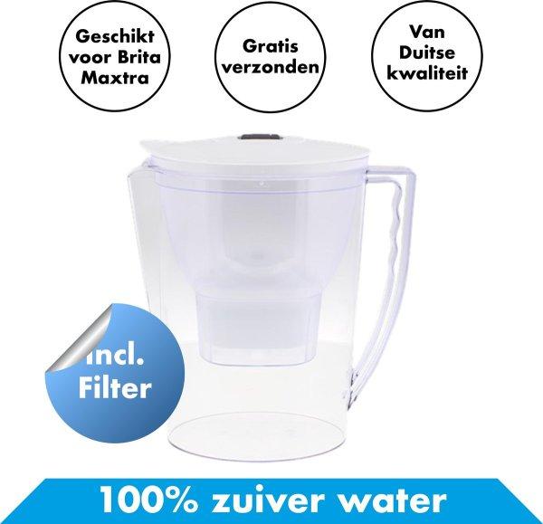 Waterfilterkan XL met GRATIS waterfilter - Waterfilterkannen - Waterfiltersysteem Filterkan - Waterfilterfles Waterontharder - Waterontkalker Waterzuivering Kraanwater - Voor Brita MAXTRA Filterpatronen - Water Filter Kan - Zuiver Filteren
