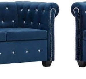 vidaXL Bankstel Chesterfield-stijl fluwelen bekleding blauw 2-delig
