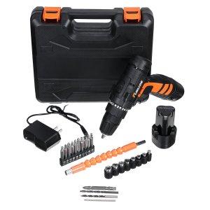 12v elektrische boormachine 2 snelheden elektrische draadloze boormachine elektrische schroevendraaier met bitset en batterijen