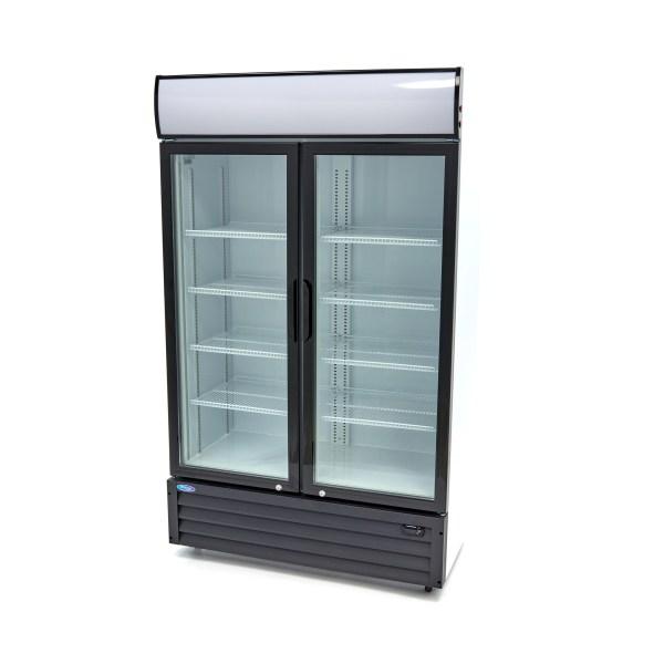 Barkoeler / Flessenkoeler - 700 Liter - 2 Klapdeuren - Dubbel Glas - met Slot + 8 Roosters - Temperatuur Controller - Horeca Displaykoeler - Maxima