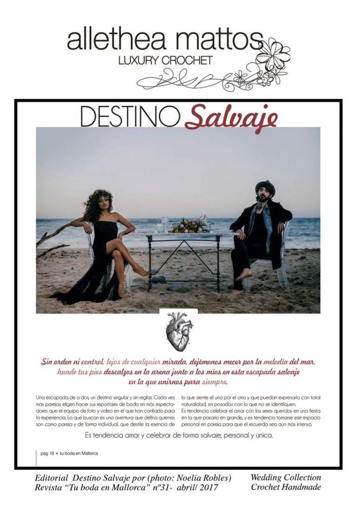 """Destino Salvage- Revista """"Tu boda en Mallorca"""""""