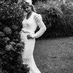 Vestido Yame. Vestido de novia de crochet tejido a mano a ganchillo con un punto muy clásico.