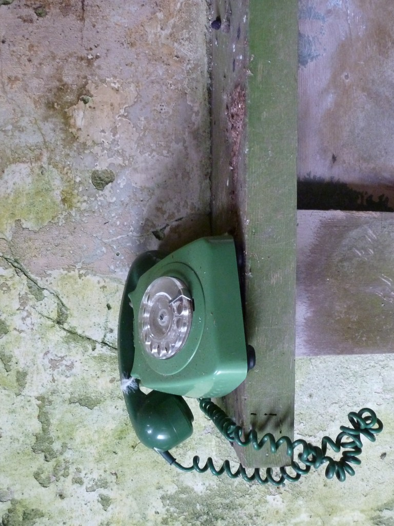 Green telephone found in one of the houses on Stroma