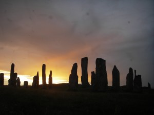 midgies at sunset at the Callanish Stones