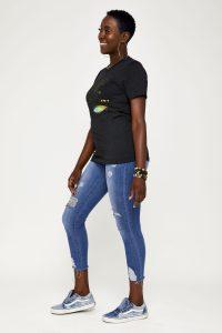 Female model in black side view