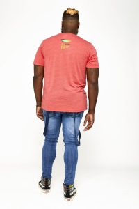 Male model in red back of shirt
