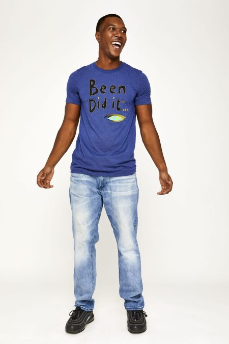 Male model in blue shirt front