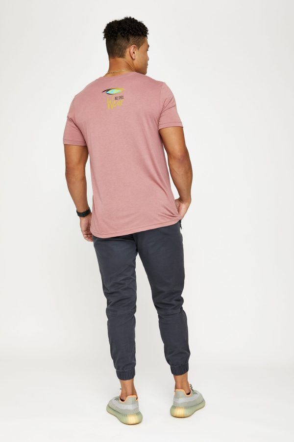 Male model in pink back of shirt