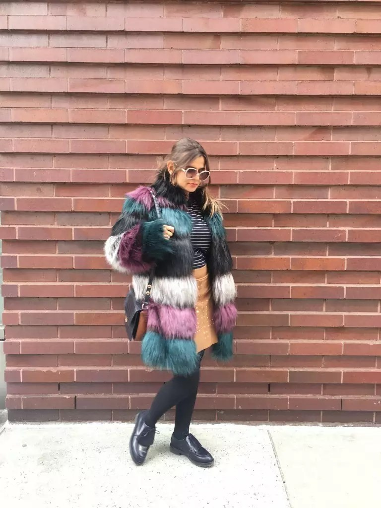 color fur jacket street style1