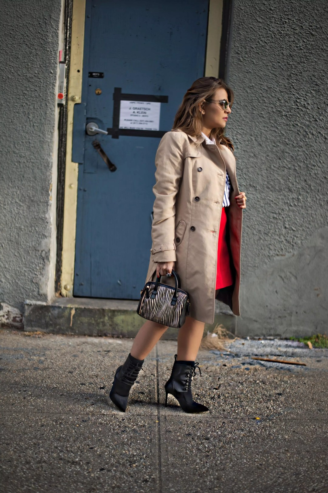j-crew-a-line-red-skirt-socks-booties-trech-coat-stripe-shirts-street-style-alley-girl-4