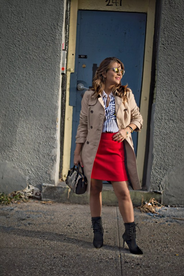 j-crew-a-line-red-skirt-socks-booties-trech-coat-stripe-shirts-street-style-alley-girl-5