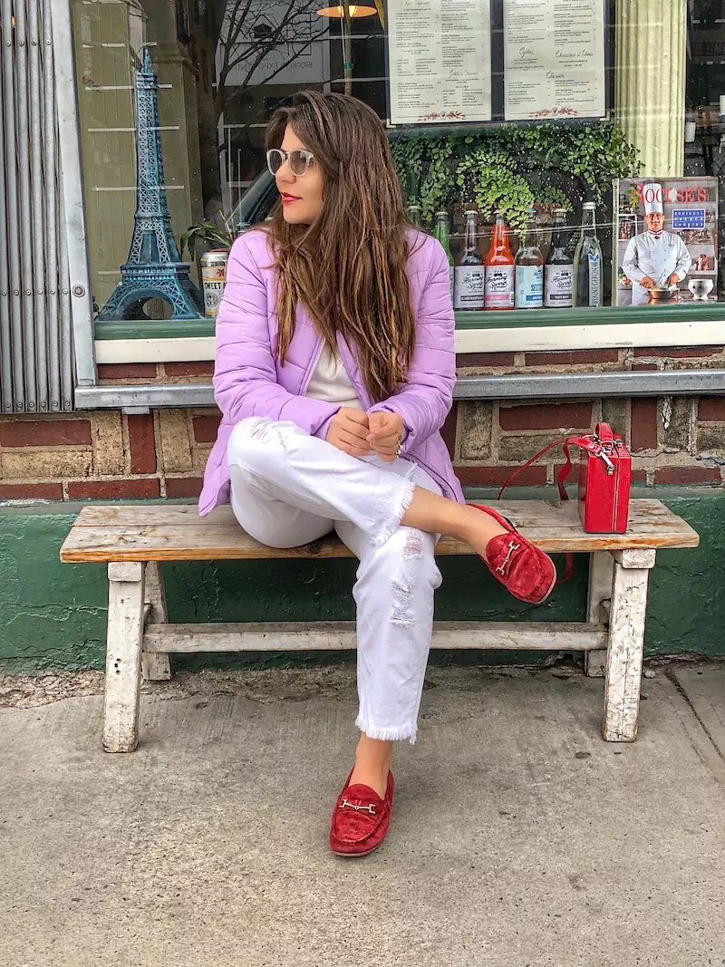 lilac padded jacket asos, red loafers