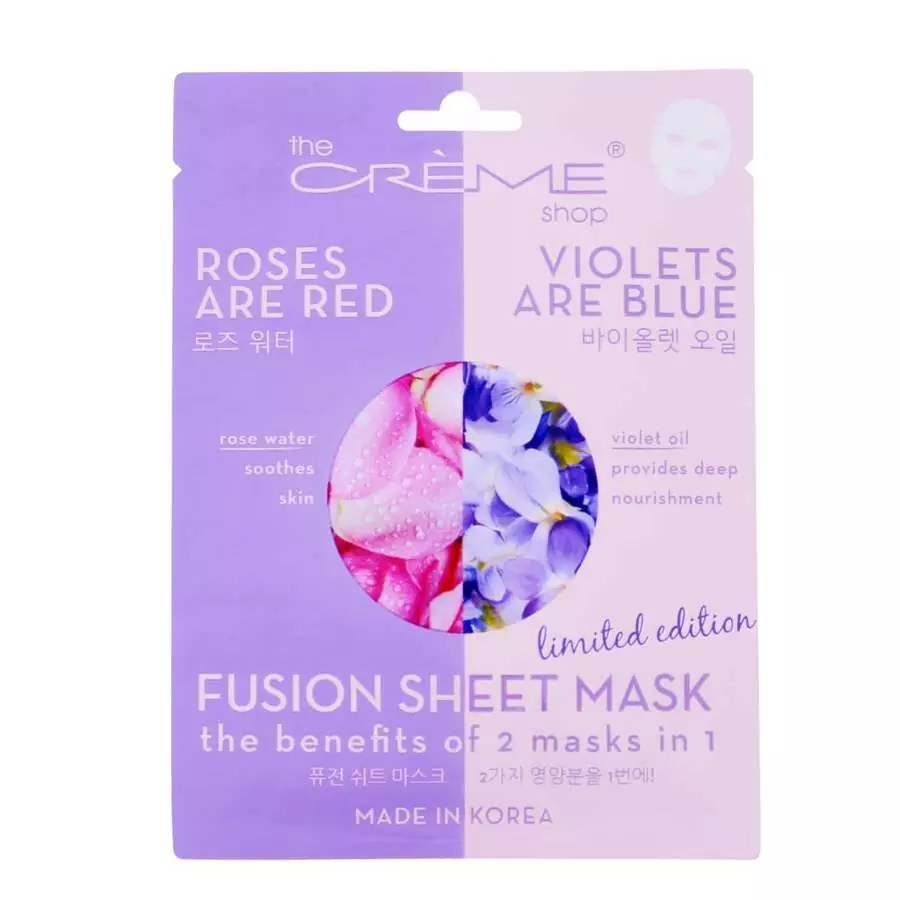 The packaging of The Rose Water & Violet Oil fusion sheet mask