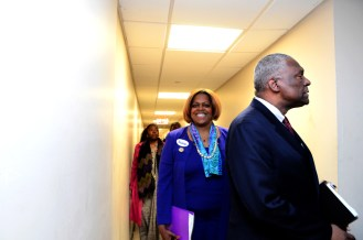 Assemblyman Keith L.T. Wright & Former Amb. Suzan Johnson Cook on their way into the debate