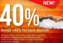 40% Forex Bonus on Deposit