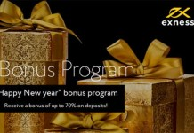 Exness Up to 70% forex bonus on each deposit
