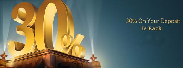 30% Forex Bonus on Deposit