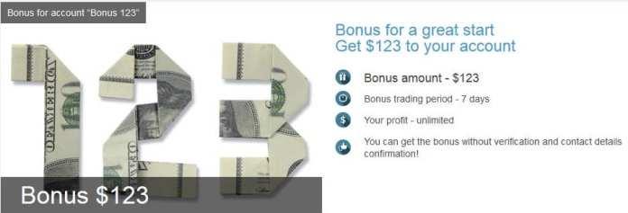 $123 NO-Deposit Forex Bonus