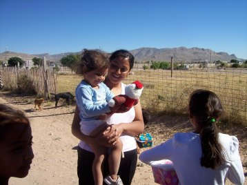 We stopped and gave gifts to children on the dirt road
