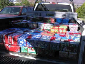 Truck loaded with gifts before going to the work camp