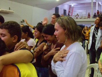 Girls overwhelmed by the Lord's presence