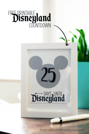 Disneyland Printable Countdown