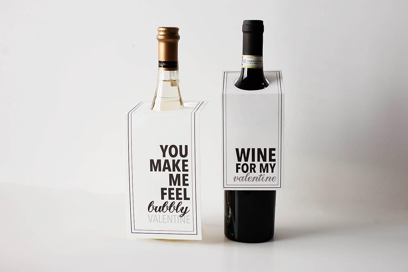 Wine or champagne valentine printables