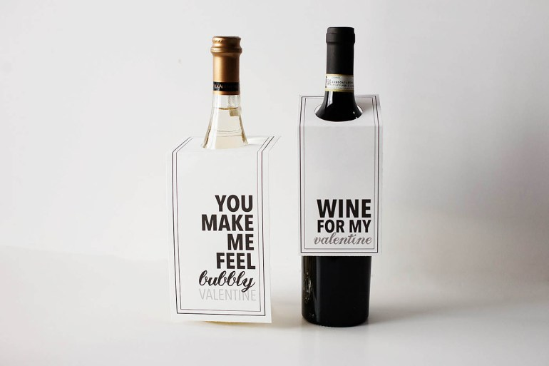 Wine or champagne valentine printables