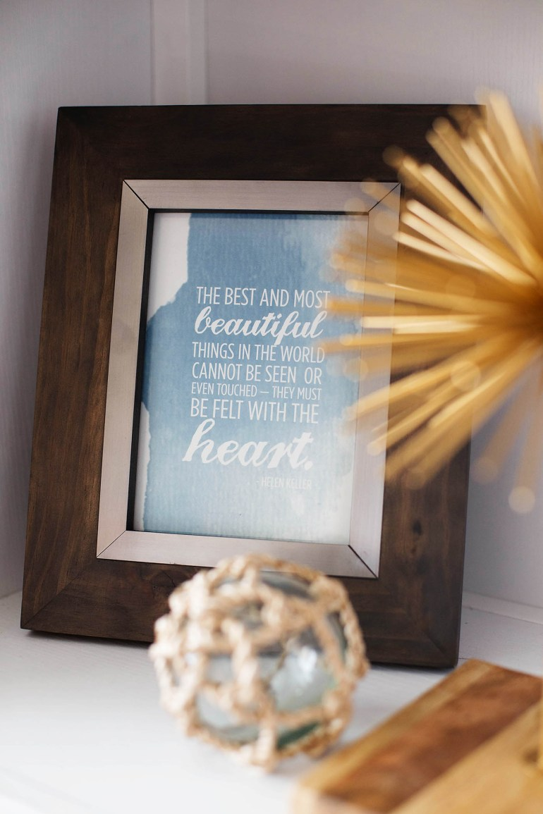 Free printable quote print + bookshelf styling tips from All for the Memories