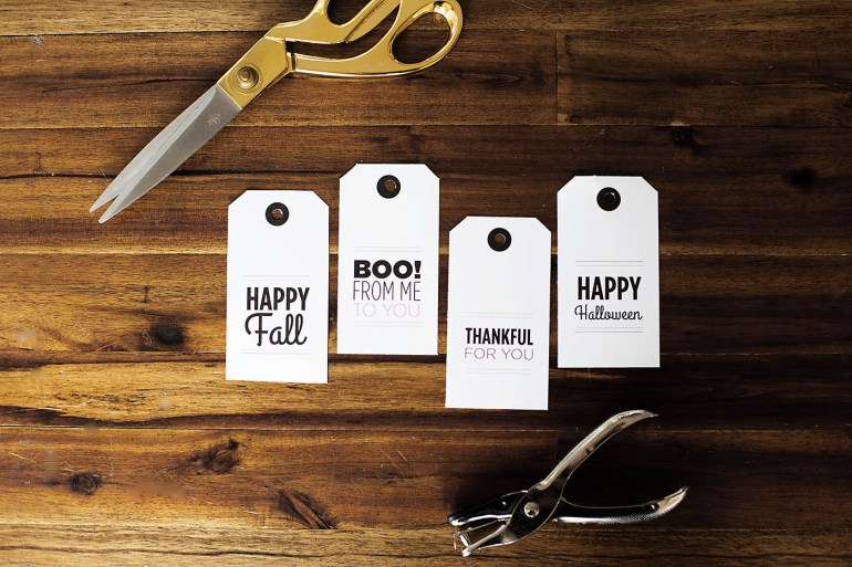 "Fall or Halloween printable tags for a fun ""just because gift basket or to Boo your neighbors!"