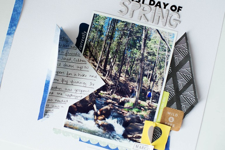 1st Day of Spring scrapbook page with hidden journaling from All for the Memories