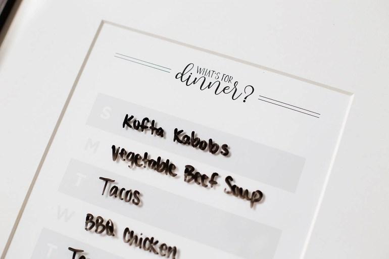 Free printable dry erase weekly menu