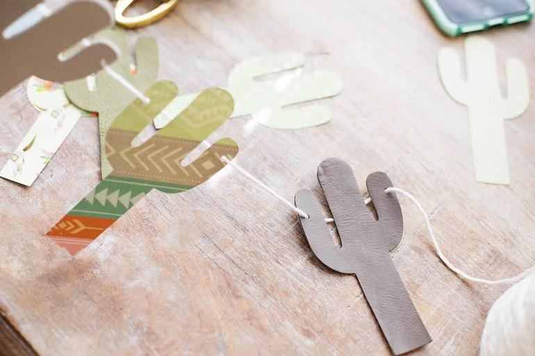Super simple DIY leather cactus bunting