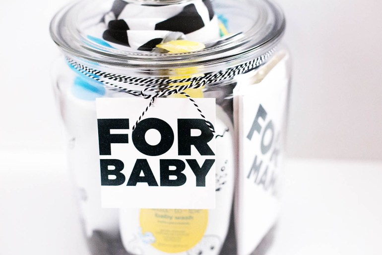 Baby (& Mama) gift in a jar idea with printable tags
