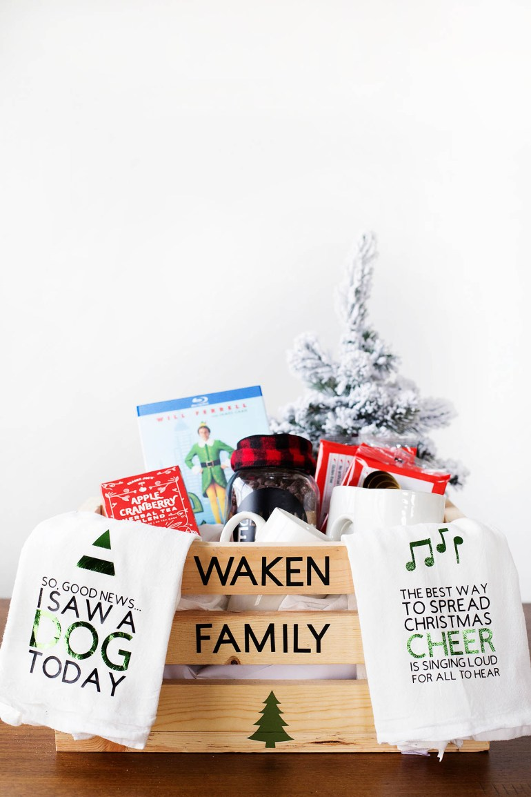 diy family christmas eve gift basket complete with elf movie quotes the cricut cut files