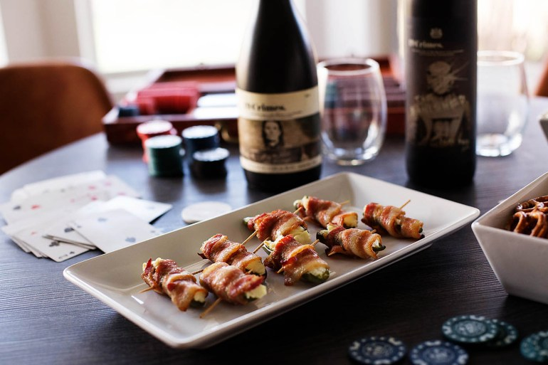 Entertaining wine labels plus bacon wrapped jalapeños