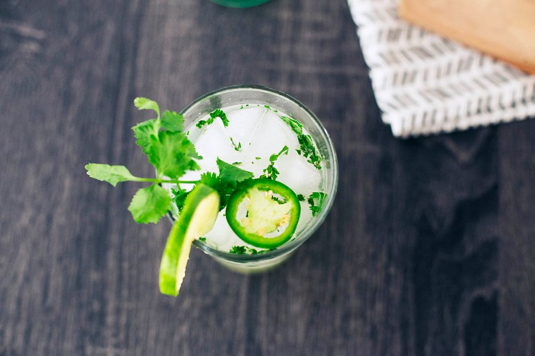 How to make a Jalapeño Cilantro Mojito - it can be spicy or not spicy at all depending on what you like!